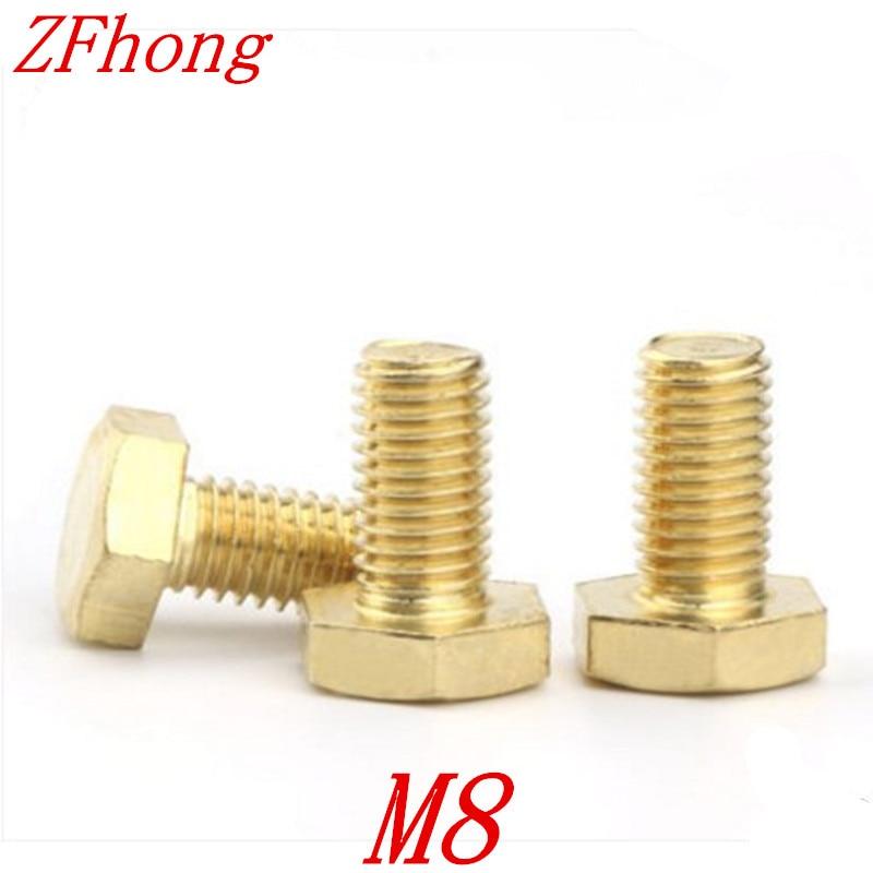 10pcs Brass Hex Bolt M8*8/10/12/16/20/25/30/35/40/45/50/55/60