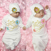 Одежда для сна для новорожденных девочек; хлопковые халаты с длинными рукавами и цветочным принтом для малышей; Ночная сорочка; комплект одежды для сна; шляпа