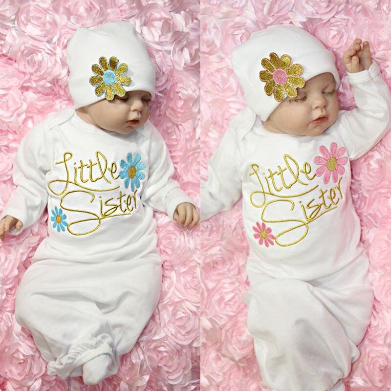 Neugeborenen Baby Mädchen Nachtwäsche Infant Kid Floral Langarm Baumwolle Roben Negligés Babyausstattung Nacht Kleid Bündel Sleepsuit Set Hut