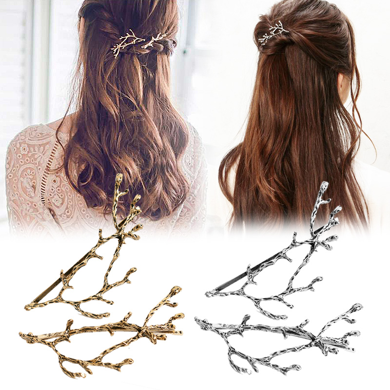Gift Promotioanl High Quality Hair Accessories Hair Clips Silvery Sale Hairpins Golden Metal Tree Branches 2PCS/Pair Wholesale