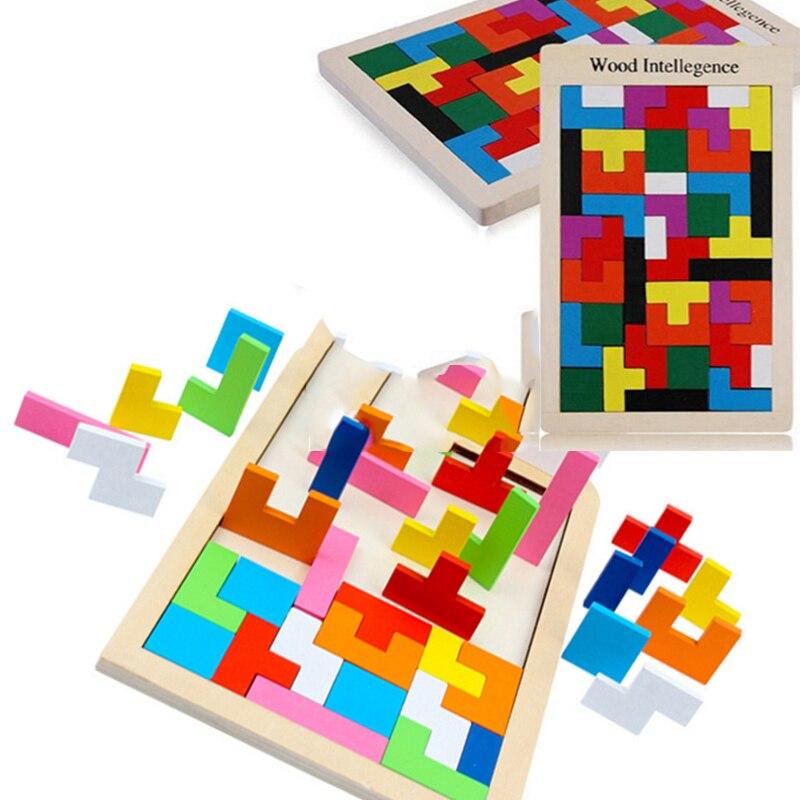 3D Новый Красочный Деревянный Tangram Логические Головоломки Игрушки Тетрис Игры Дошкольного Magination Интеллектуальной Образования Детей Игрушка в Подарок
