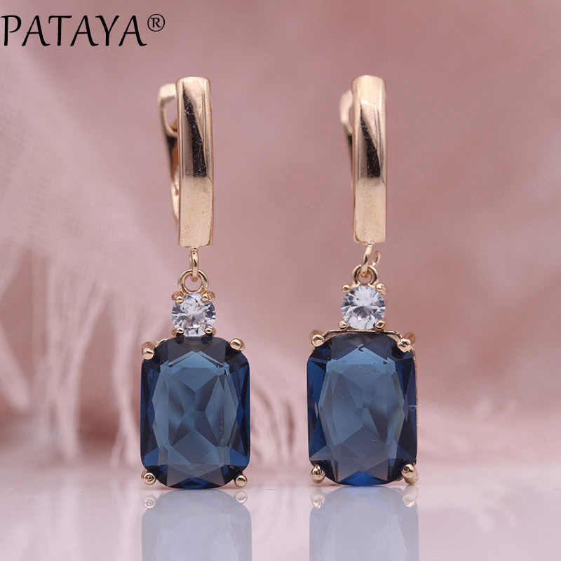PATAYA New Square Dark Blue Long Earrings Women Wedding Jewelry 585 Rose Gold Hollow Multicolor Natural Zircon Dangle Earrings