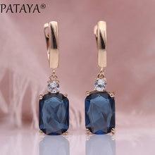 PATAYA – boucles d'oreilles carrées longues, bleu foncé, bijoux de mariage pour femmes, or Rose, creux multicolore en Zircon naturel, 585
