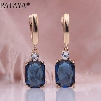 c906c26e5a8f Pattaya nuevo azul oscuro cuadrado pendientes largos mujeres boda joyería  585 oro rosa Hollow Multicolor Natural Zircon cuelga los pendientes
