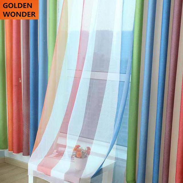Rainbow Curtains For Living Room Mediterranean Strip Curtain Blackout Sheer Window Modern Fashion