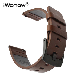 Italian Oily Leather Watchband 20mm 22mm for Samsung Galaxy Watch 42mm 46mm SM-R810/R800 Quick Release Band Sports Wrist Strap