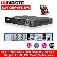 HKIXDSTE 8CH 1080 P AHD DVR NVR HD видео с разрешением 1080 P Регистраторы H.264 CCTV IP Камера сети 8 Channel 1 SATA Multilanguage с 2 ТБ HDD