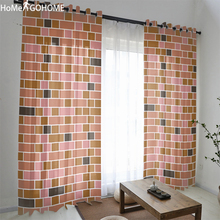 Brick Wall Print Tulle Curtains for Bedroom Gordijnen Sheer Window Curtain 3d Kitchen Decoration Living Room Voile