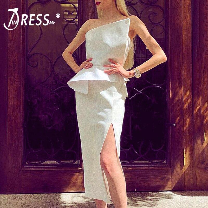 INDRESSME New Solid Strapless Sleeveless Bandage Party Dress For Women Bodycon Asymmetrical Dress Vestidos