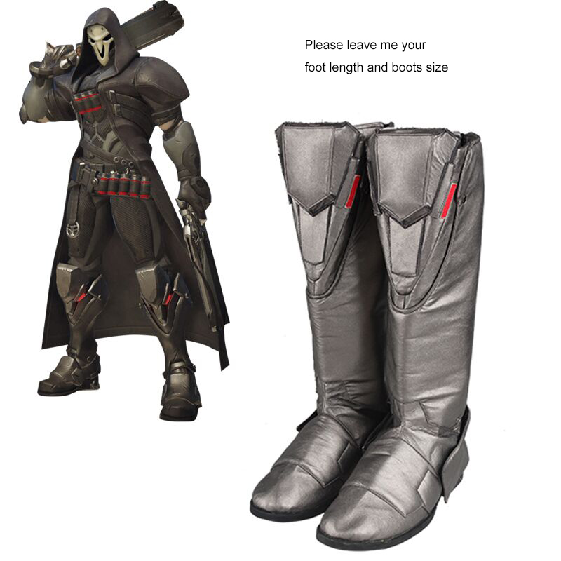 Reaper Shoes Gabriel Reyes Boots Cosplay Costume Accessories Game Hero Cosplay Shoes Boots Adult Men Halloween Leather Shoes