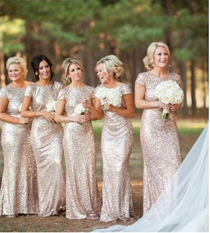 Stunning Gold Silver Sequins Bridesmaids Dresses 2016 Mermaid Scoop Short Sleeves Plus Size Simple Maid Of Honor Bridal Gowns In Bridesmaid From