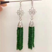 one pair green/pink red stone roundel faceted hook earrings 80mm wholesale beads nature FPPJ