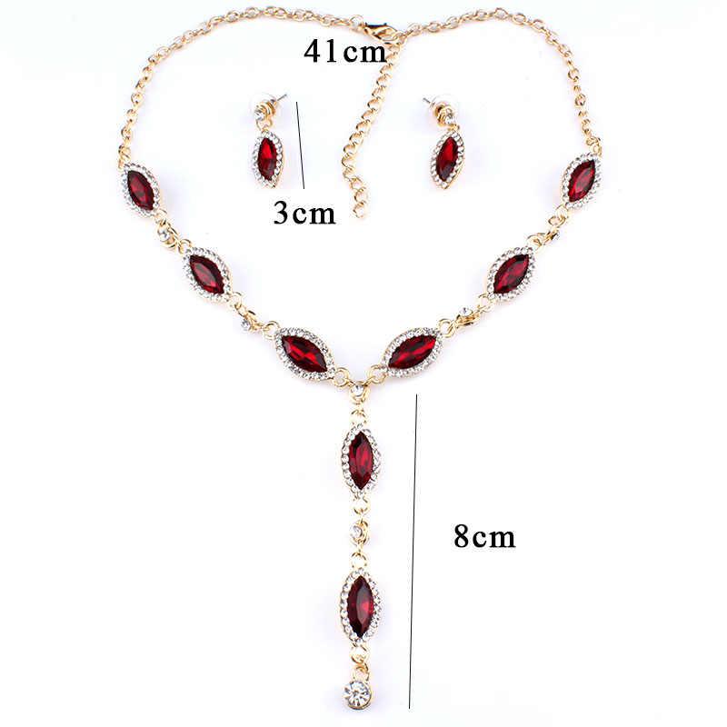 Jiayijiaduo Merah Kristal Anting-Anting Kalung Bridal Pernikahan Perhiasan Set Kalung Sederhana Rumbai Tipe untuk Wanita Hadiah Kekasih 3 Warna