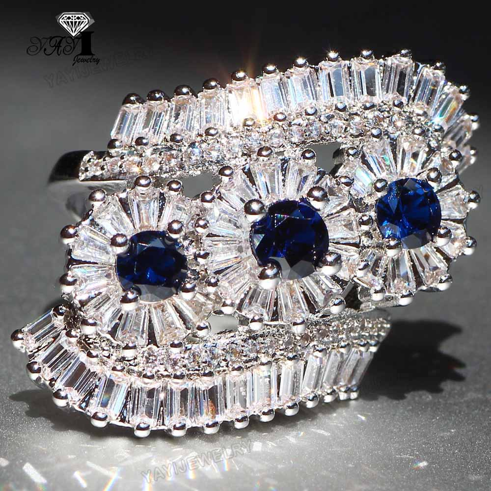 T/&T ring Classic Fashion Blue Zircon Heart Ring Vintage Jewelry for Women Wedding Engagement Rings