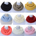 Feitong Women Solid Color Ring Scarf Winter Warm Infinity 2 Circle Cable Knitted Cowl Neck Long Scarf Shawl Warmer 2017 Hot Sale