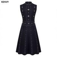 KENVY Brand High end Luxury Women's Dresses Summer Slim Elegant Heavy Diamond Sleeveless Knitted Tank Dress