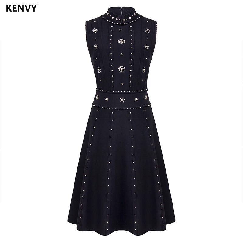 KENVY Brand High end Luxury Women's Dresses Summer Slim Elegant Heavy Diamond Sleeveless Knitted Tank Dress