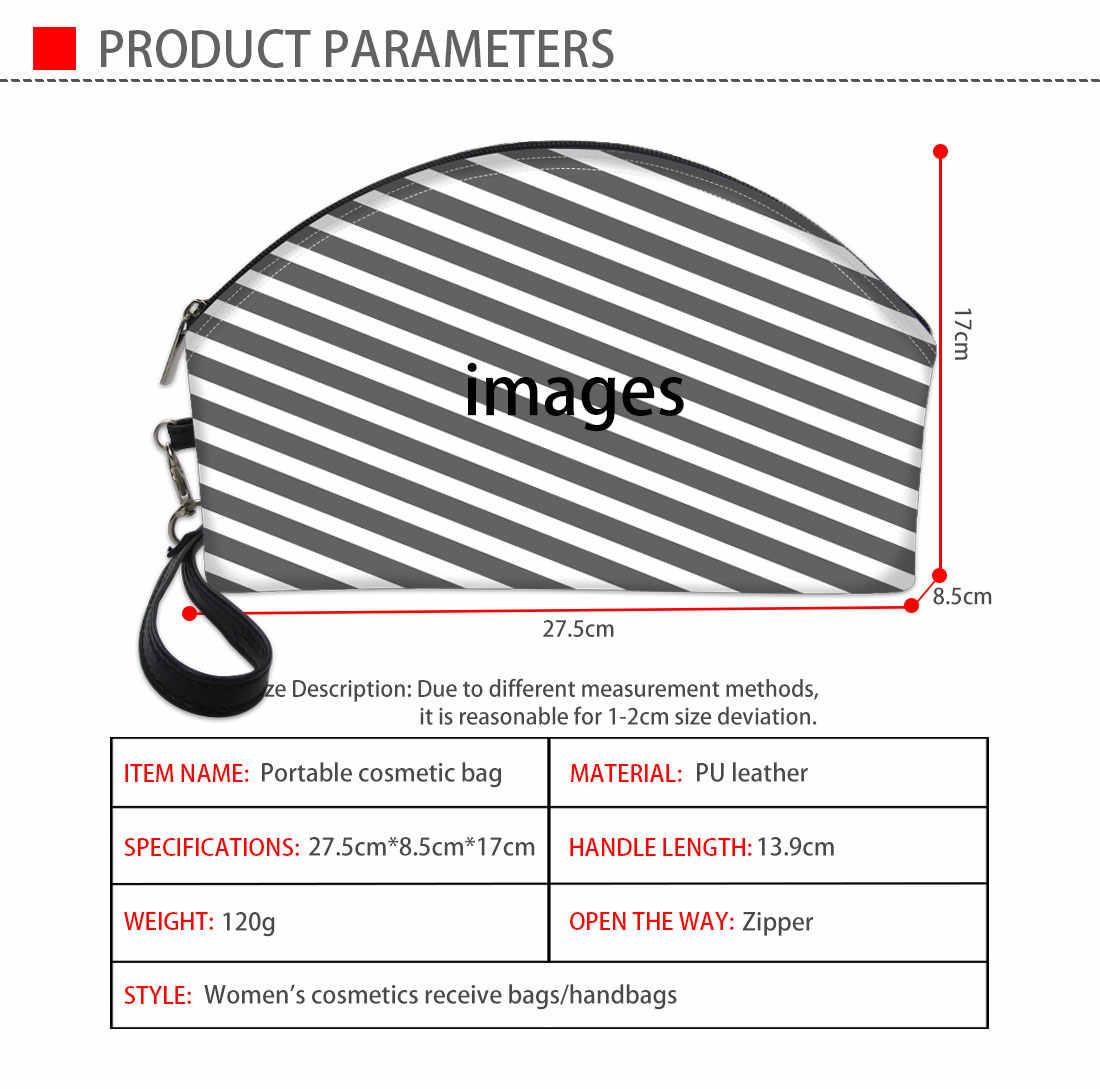 FORUDESIGNS أسود أبيض شبكة ثلاثية الأبعاد الطباعة حقيبة مستحضرات التجميل حقيبة ماكياج المنظمون مقلمة حقيبة وظيفية Neceser Maquilhagem
