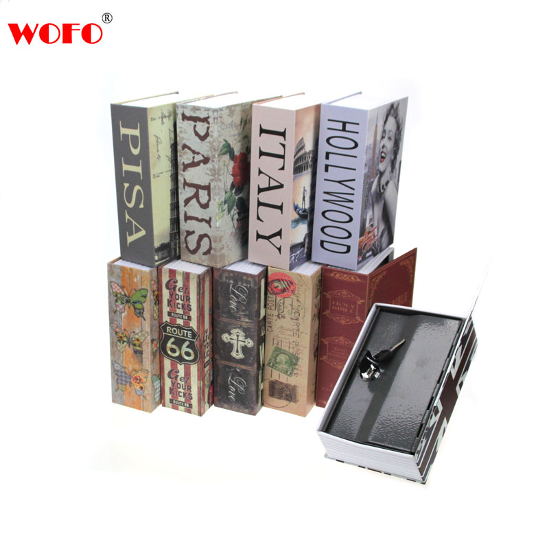 WOFO Secret Cachée Livre Tirelire Coffre-fort Serrure à Clé Cash Money Casier Boîte 18*11.5*5.5 CM