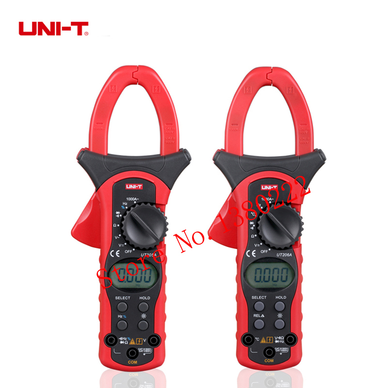 UNI-T UT205A Auto Range 1000A LCD Backlight Digital Clamp  Multitester w/ Frequency Duty Cycle Test Multimeter professional uni t 2000a auto range data hold lcd backlight digital clamp meters multitester ut220 megohmmeter