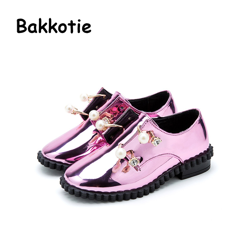 Bakkotie 2018 Spring New Baby Girl Fashion Pu Leather Pearl Shoe Child Rhinestone Loafer Casual Shoe Flat kid Brand Soft Slip on