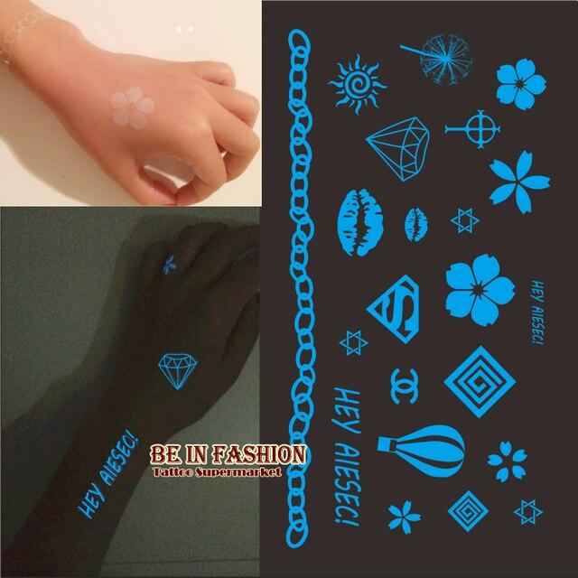 Creative Fluorescence Tattoo Sticker Blue Color Emission At Dark Glow Tattoos Sticker Neon Colored Luminous Sticker Flower Batom