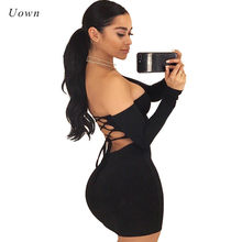 b5a4ef47 Off the Shoulder Strapless Bodycon Dress Women Long Sleeve Lace up Back  Autumn Little Black Dress