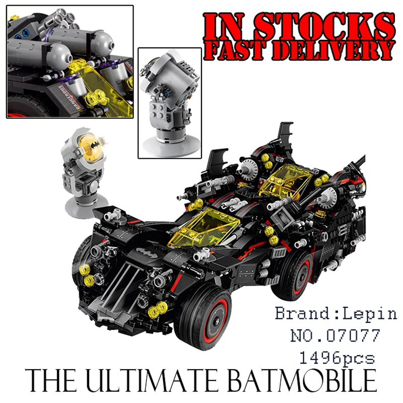 Lepin 07077 Batman Movie The Ultimate Batmobile Bat Motorcycle Fighter Building Blocks Bricks Toys Gift For Children 70917 gonlei new 610pcs 10634 batman movie the batmobile building blocks set diy bricks toys gift for children compatible lepin 70905