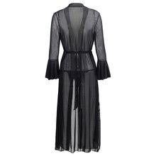iShine Sexy Lingerie Black Hot Long Women Babydoll nightwear Long Flare Sleeve Mesh Transparent pajamas Chemises Underwear