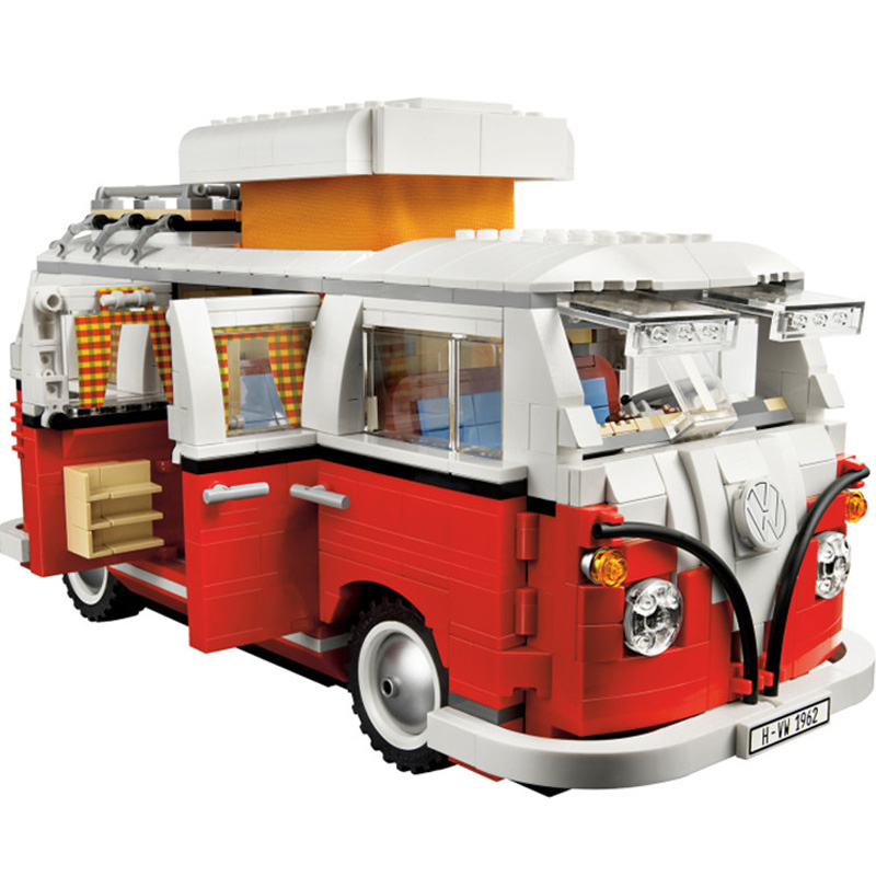 NEW BELA Creator series the Volkswagen T1 Camper Van model Building Blocks Classic Compatible Technic Car Toys for children gift lepin 21001 creator volkswagen t1 camper van building block compatible legoe 1352pcs educational toys for children