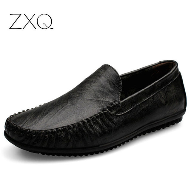 Handmade Men Flat Shoes 100% Genuine Leather Loafers Shoes Slip On Men Driving Moccasins 9004