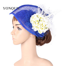 Multiple color select sinamay hat silk flower fascinator with birdcage headwear bridal hair accessorise occasion hairclipMYQ127