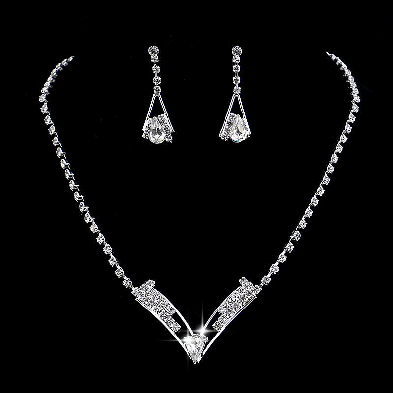 new Women Cute Party Jewelry Red Cherry Crystal Diamante Necklace Earrings Set