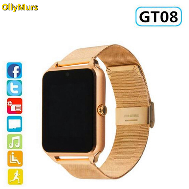 New Smart Watch GT08 Plus Metal Strap Bluetooth Wrist Smartwatch Support Sim TF Card Android&IOS Watch Multi-languages PK S8 Z60