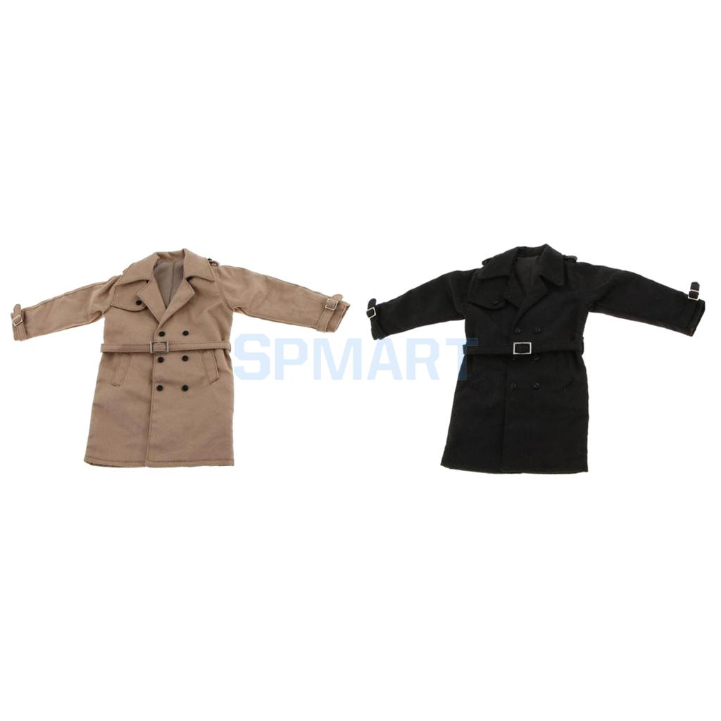 2 Pieces 1/6 Scale Trench Coat Long Jacket Overcoat Clothing for 12'' Male Action Figure Hot Toys Khaki+Black