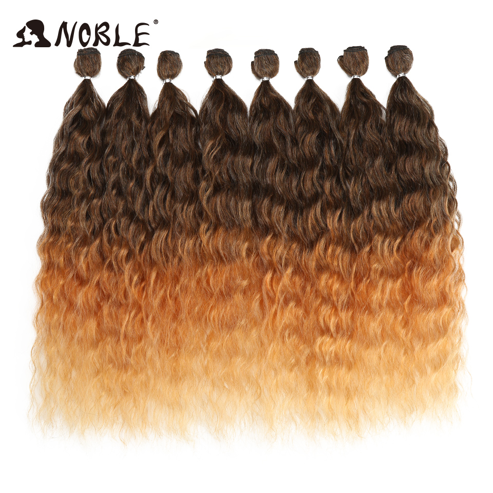 Noble Wave Hair Bundles With Closure Ombre Blonde Silver Grey Hair 9Pcs/Pack 20 Inch Hair Bundles Synthetic Hair Extensions