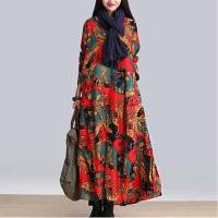 New arrival women nation style print linen dress long sleeve patchwork loose long dress big size dress plus size AE574