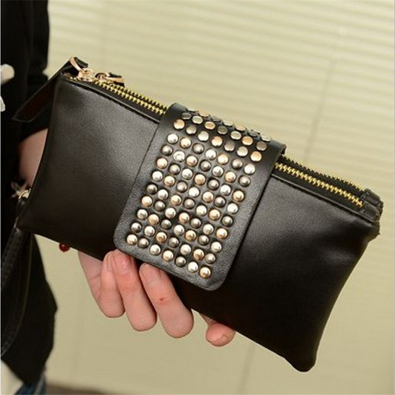 Hot Selling Fashion PU Leather Fashion Designer Rivet Women's Handbags Evening Bag  Ladies  Wallet Clutch Bag black and white two color hot selling elegant ladies clutch bag fashion women handbags wedding handbags c696