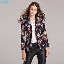 2017 Autumn Designer Luxury Runway Print Womans Jacket Fashion High Quality Long Sleeves Black Casual Short Tops Jacket