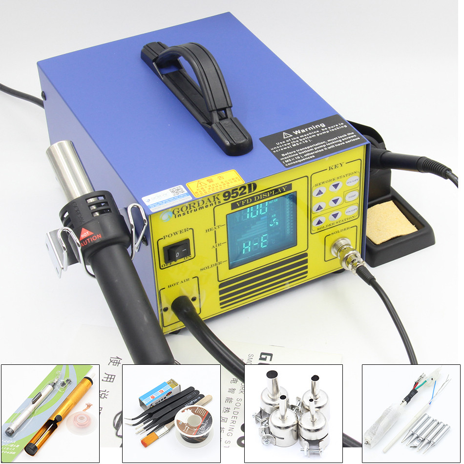 Gordak 952D digital displayer 2 in 1 Desoldering Station Hot Air heat Gun with SMD Soldering station Electric iron 952 Air pump yihua 898d led digital 700w lead free smd desoldering soldering station hot air soldering station