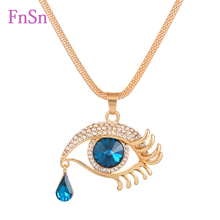 Eye  Pendant Necklaces Women Long Necklace Crystal Gold Colour Zinc Alloy Charms Necklaces Jewelry Hot Sale2017New Fashion Gift