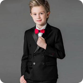 Double Breasted Black Boy Suits for Wedding Peaked Lapel Slim Child Wedding Suits Boys Costume Mariage Kid Blazers Ternos 3Piece boys suits 3 pcs boys wedding suits page boy suits grey black 2 to 12
