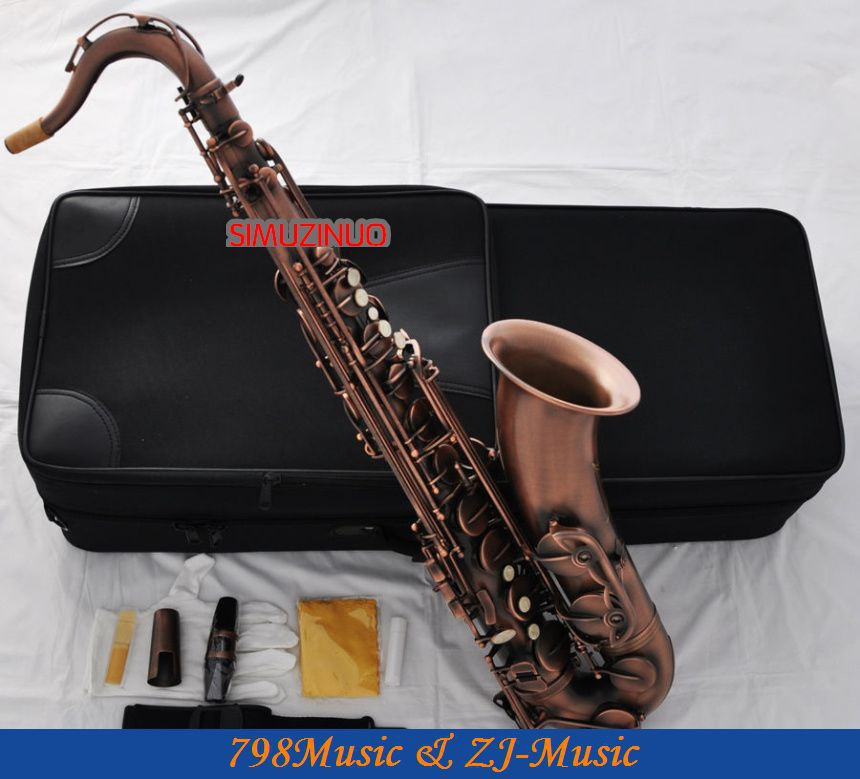 Professional Red Antique Tenor Saxophone sax Bb Key High F# saxofon With Case professional red antique alto saxophone sax high f engraving with case