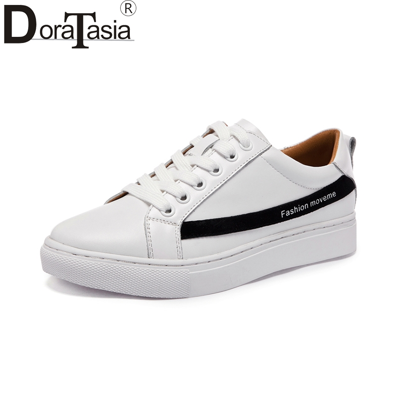 DoraTasia brand new 2018 genuine leather sneakers shoes white women fashion spring leisure woman shoes girls footwear