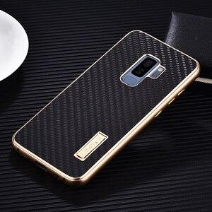Image 2 - Samsung Galaxy S9 /S8 artı durumda lüks Metal alüminyum tampon kapak karbon Fiber koruma kılıfları Samsung Galaxy s9 S8 kılıfı