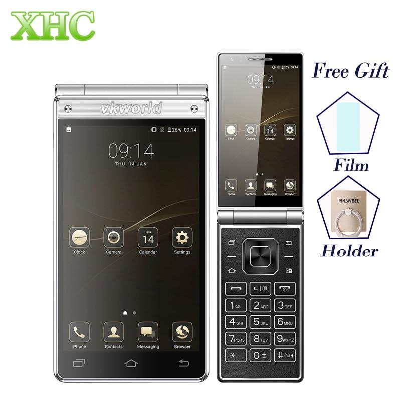 Vkworld T2 плюс флип 4 г смартфон Оперативная память 3 ГБ Встроенная память 32 ГБ MT6737 4 ядра 4.2 дюймов двойной Экран Android 7.0 Dual SIM GPS Мобильные телефоны