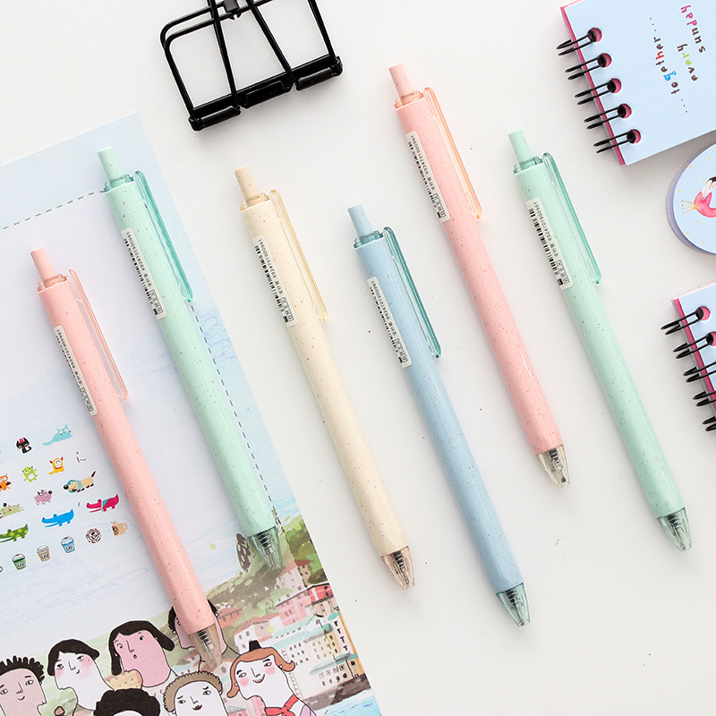 4pcs Creative Stationery Student Pen Solid Color Press Gel Pen Full Needle Black Ink Pen School Supplies Office Supplies 0.5mm