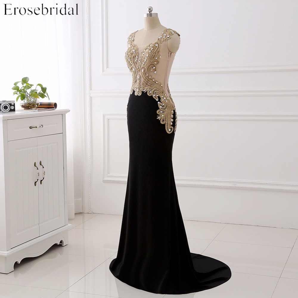 Женское вечернее платье Длинные вечерние платья Золотое кружево с прозрачными вечерние платья с круглым вырезом для женщин