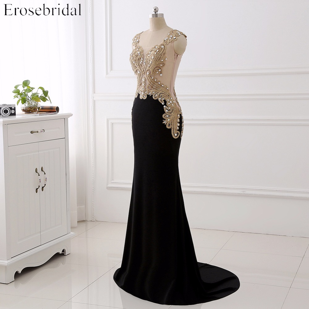 Women Evening Dress Long Party Dresses Long Evening Party Dresses Gold Lace with Sheer Neck Evening Gowns for Women