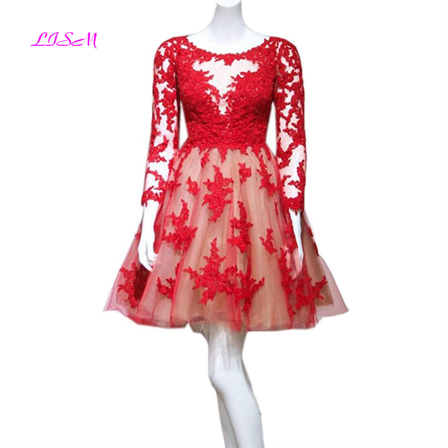 Long Sleeves Tulle Short   Cocktail     Dresses   A-Line O-Neck Mini Homecoming   Dress   Sheer Back Formal Party Gowns robe de   cocktail